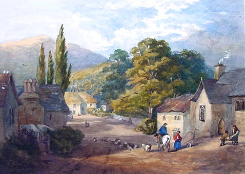Ashprington near Totnes Antique Watercolour painting