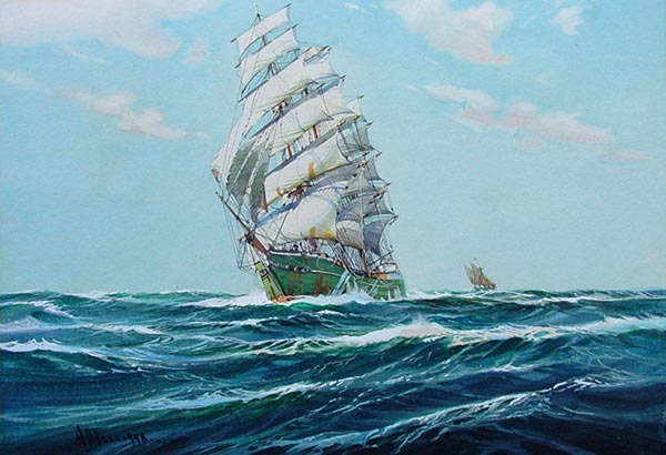 A.D. Bell portrait of Clipper in full sail