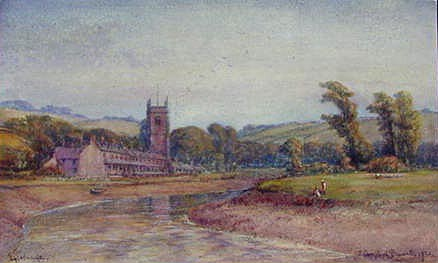 Watercolour of Egloshayle Cornwall by Campbell Bennett