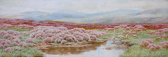 Bertram Morrish - Dartmoor possibly the River Teign - Watecolour