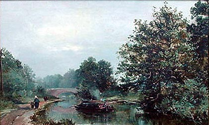 Antique oil painting after Alfred de Breanski - Canal Scne