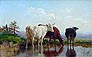 English School 19th Century Oil Painting - Cattle Watering