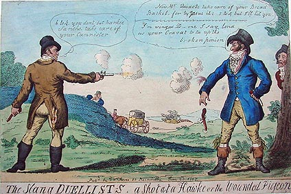 Antique Duelling Print - Caricature by Isaac Cruikshank