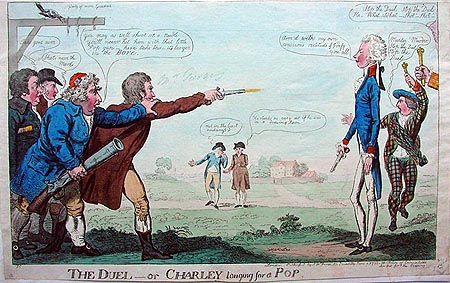 Antique Duelling Etching cartoon by Cruikshank