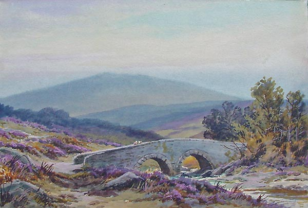 Dartmoor Bridge Watercolour Antique Painting