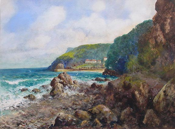 Antique watercolur painting by W. H. Dyer - Babbacombe Torquay