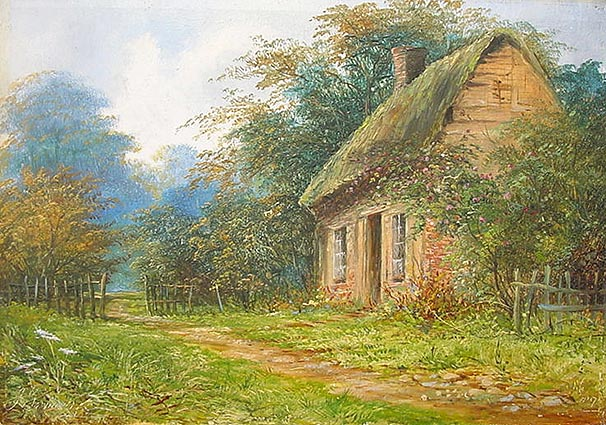 Antique oil Painting Rural Cottage 1896