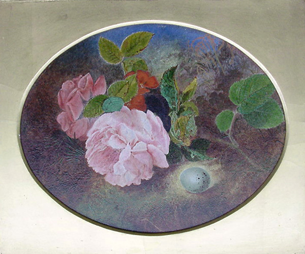 Victorian Oil Painting - Still life study with a Rose and Birds Egg