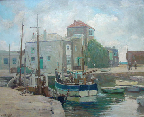 Mevagissey Harbour circa 1950 -  Oil Painting by William Eric Thorp