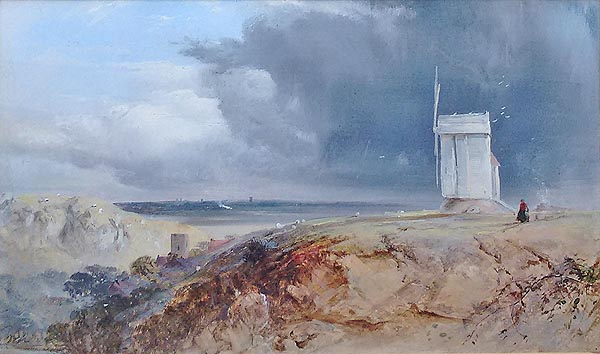 Victorian coastal scene with a Windmill possibly Essex