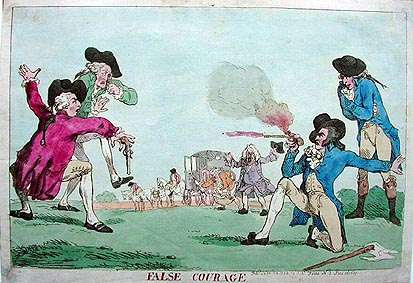 Thomas Rowlandson antique duelling print - political cartoon