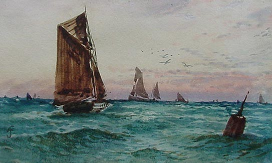 Antique Watercolour Painting Fishing Boats After F J