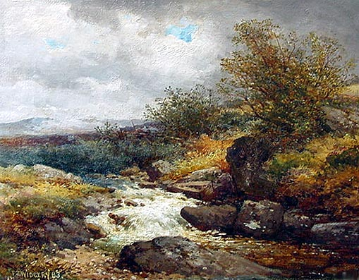 Antique Oil Painting by F. J. Widgery - River Lyd
