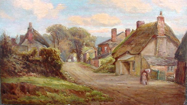 Galmpton Post Office Nera Hope - Antique Oil Painting