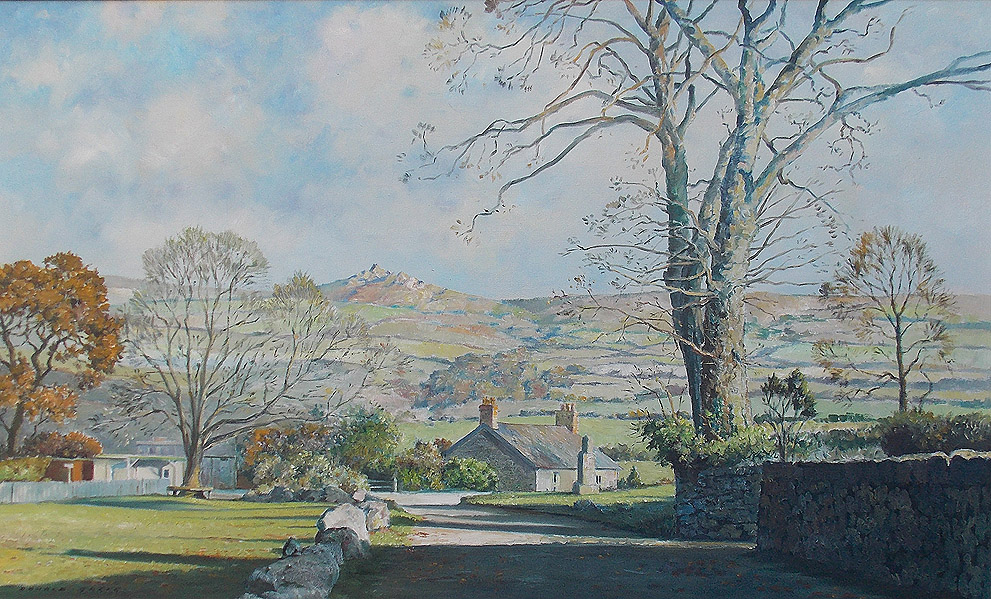 Donald Greig oil painting of Widecombe in the Moor Dartmoor for Sale