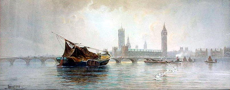 Antique watercolor painting - Houses of Parliament from the River Thames - Charles Hannaford circa 1910