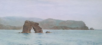 Thurlestone Rock painting by Frank Hewett