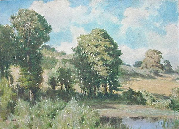 Frank Hewett Watercolour near West Buckland and Bantham