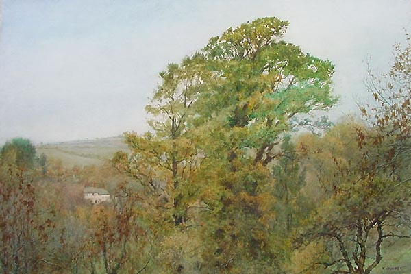 West Buckland from Thurlestone - Watercolour circa 1910 by Hewett