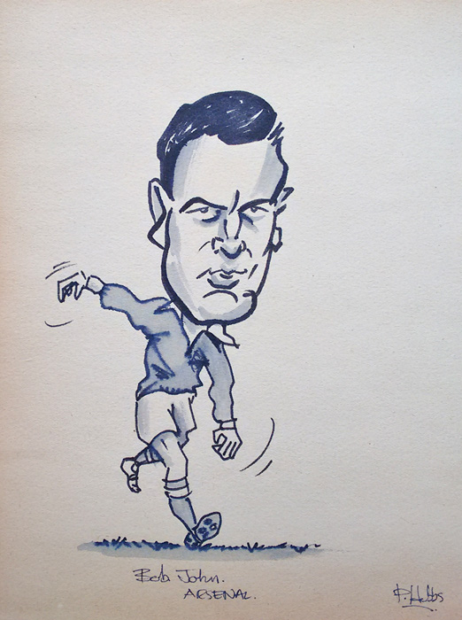 Bob John of Arsenal caricature by Hobbs
