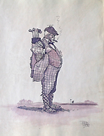 antique golf cartoon