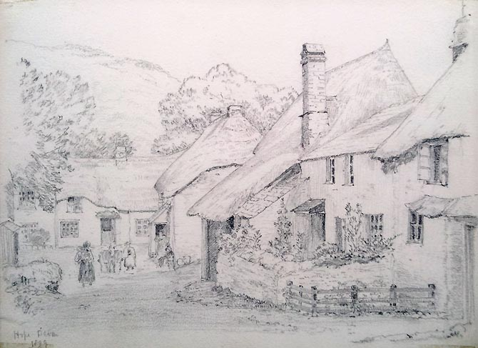 Hope Cove Devon - Pencil sketch dated 1899