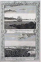 Antique print of Plymouth