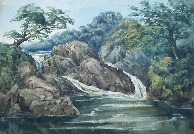 Antique watercolour of the River Erme above Ivybridge Devon