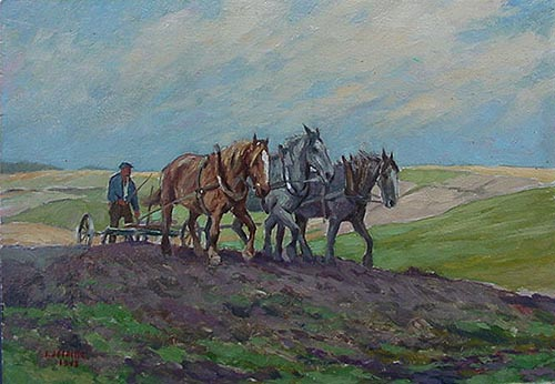 Horses Ploughing Oil Painting