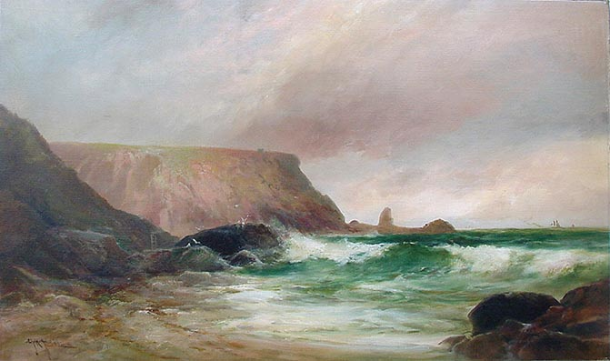 Anstey's Cove Torquay - Antique Oil Painting by G. H. Jenkins