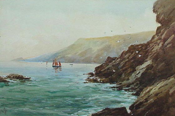 G.H. Jenkins watercolou picture - The Mewstone and Souht Devon Coast