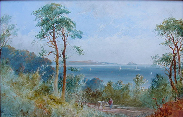 G H Jenkins Oil painting of Plymouth Sound, Breakwater and The Mewstone