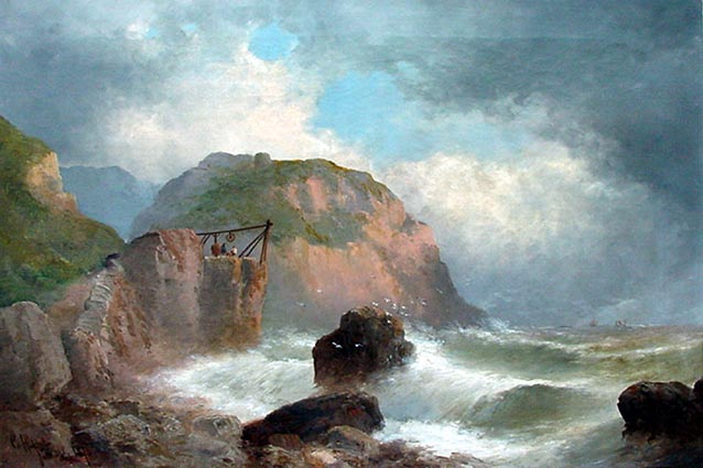 Antique Painting of Tintagel