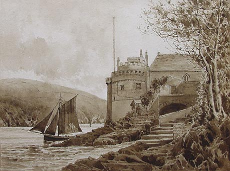 Kingswear castle near Dartmouth antique watercolour painting