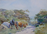 Ponies watercolour by Kingwell
