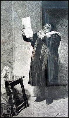 Antique Etching - A Man Reading a Letter