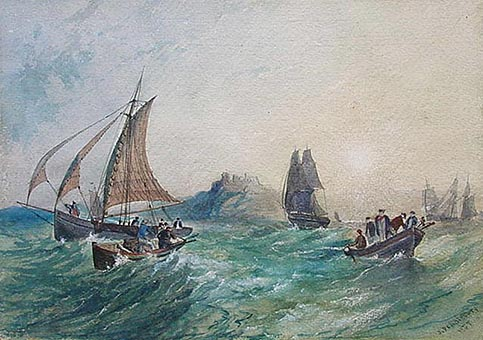 Marine Watercolor Painting - Pendlebury - Ships on a rough sea