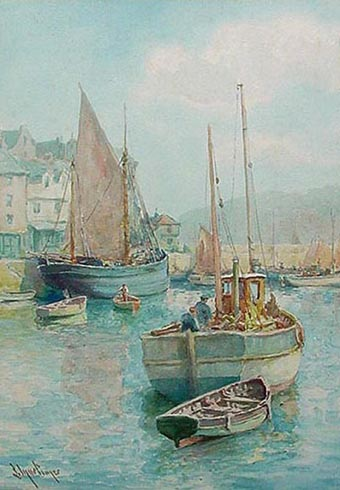 Watercolour of Brixham harbour by Louis Mortimer
