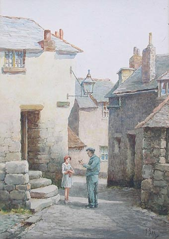Norway Lane St. Ives - Watercolou by F. Parr