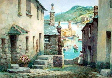 Frederick Parr watercolour picture - Bethesda steps St. ives