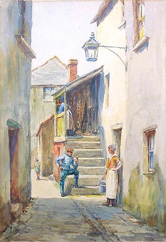 Antique watercolour - St. Ives by Frederick Parr