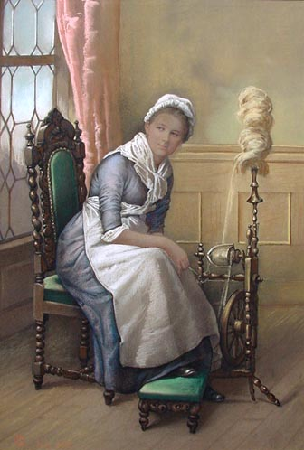 Lady at the Spinning Wheel - Pastel Portrait 1885