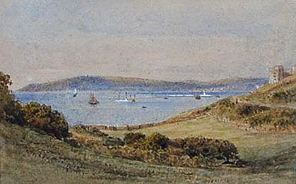 Antique watercolour of Plymouth Sound form Bovisand -