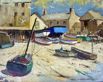 Antique Oil Painting Port Isaac by Atherton Cathcart
