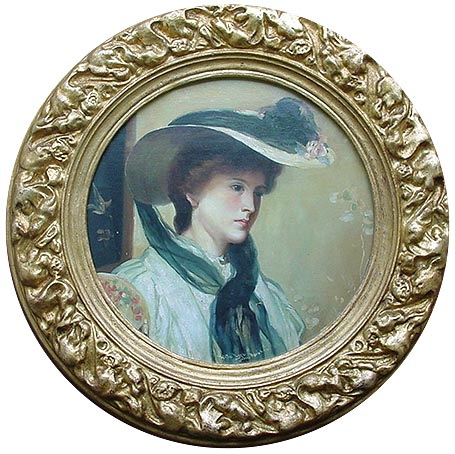 John Reid Oil Painting - Lady in a Bonnet