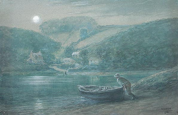 River Yealm Ferry in Moonlight