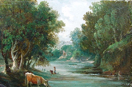 Antique Oil Painting of the River Yealm Devon by William Bath