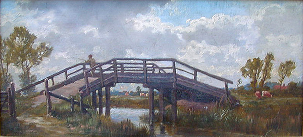Boy Fishing from a Bridge - Oil Painting