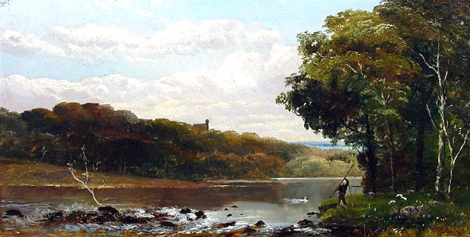 Antique 19th Century Oil Painting - Riverscene with figure