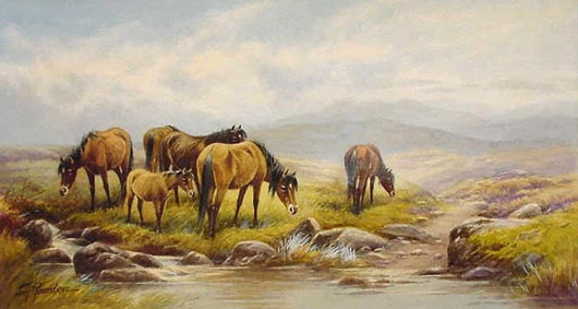 Antique Watercolour by Tom Rowden - Ponies on Dartmoor